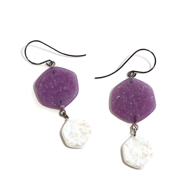 pearl purple earrings