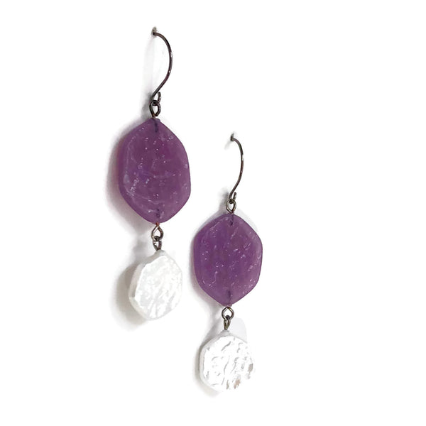 purple textured earrings