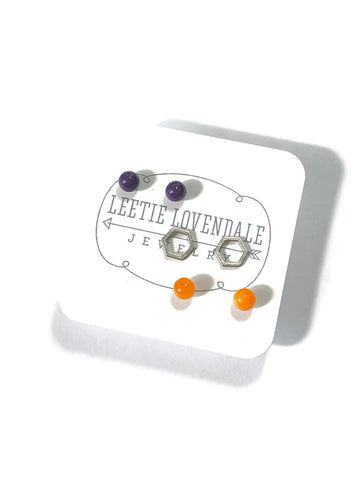 Tiny Dark Purple Amber & Frosted Silver Hexagon Geo Stud Earrings Set