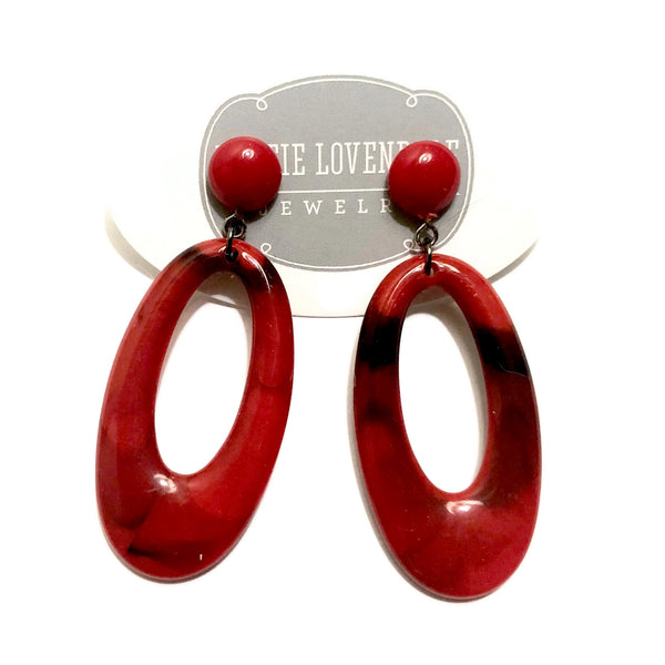 red black statement earrings