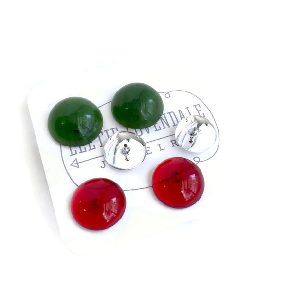 red green clear studs