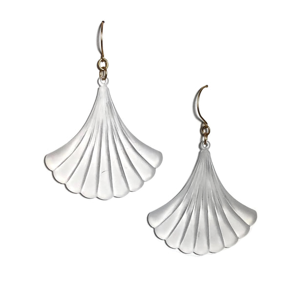 frosted clear fan earrings