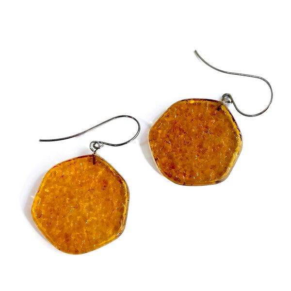 brown plastic earrings