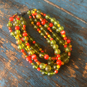 Orange Moonglow & Olive Frosted Lucite Beaded Sylvie Statement Necklace