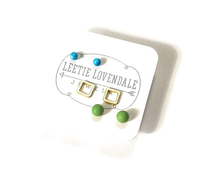 Tiny Geo Studs Earring Set | Turquoise Frosted Gold Squares & Lime Green Stud Earrings