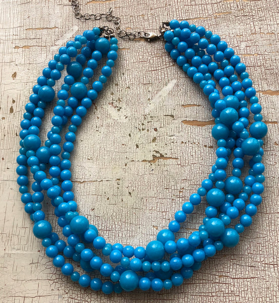 bright aqua blue necklace