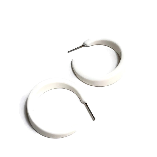 White Hoop Earrings | Tapered Vintage Lucite Hoops