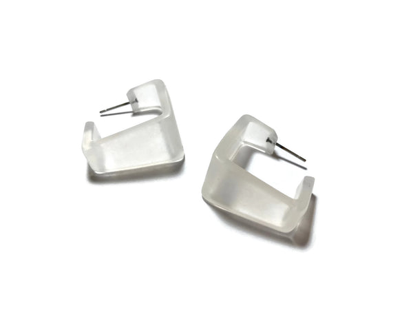 clear frosted square earrings