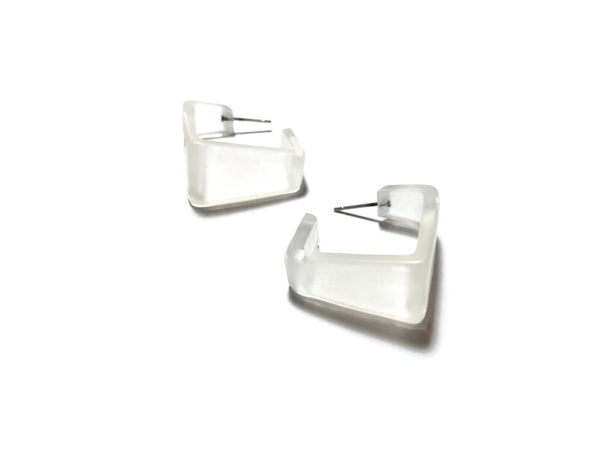 square frosted clear earrings