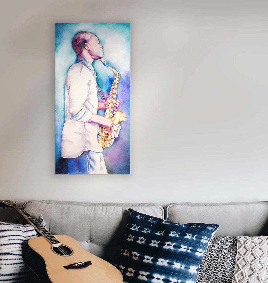 portrait of saxophone hanging with guitar