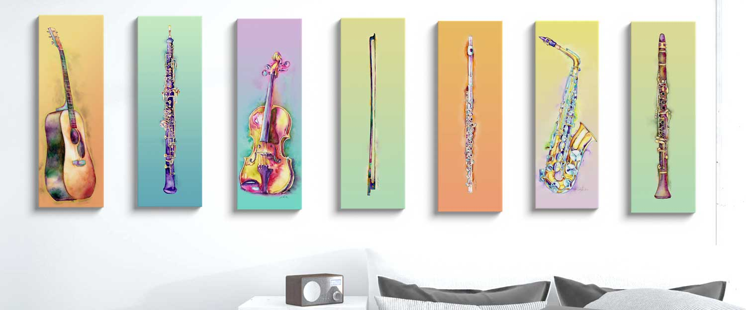 Brightly colored musical instruments
