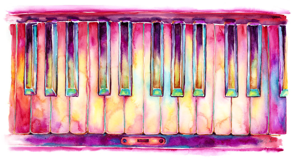 Two Octaves Piano watercolor - colorful keyboard painting by Jamie Hansen - Jamie Hansen Art