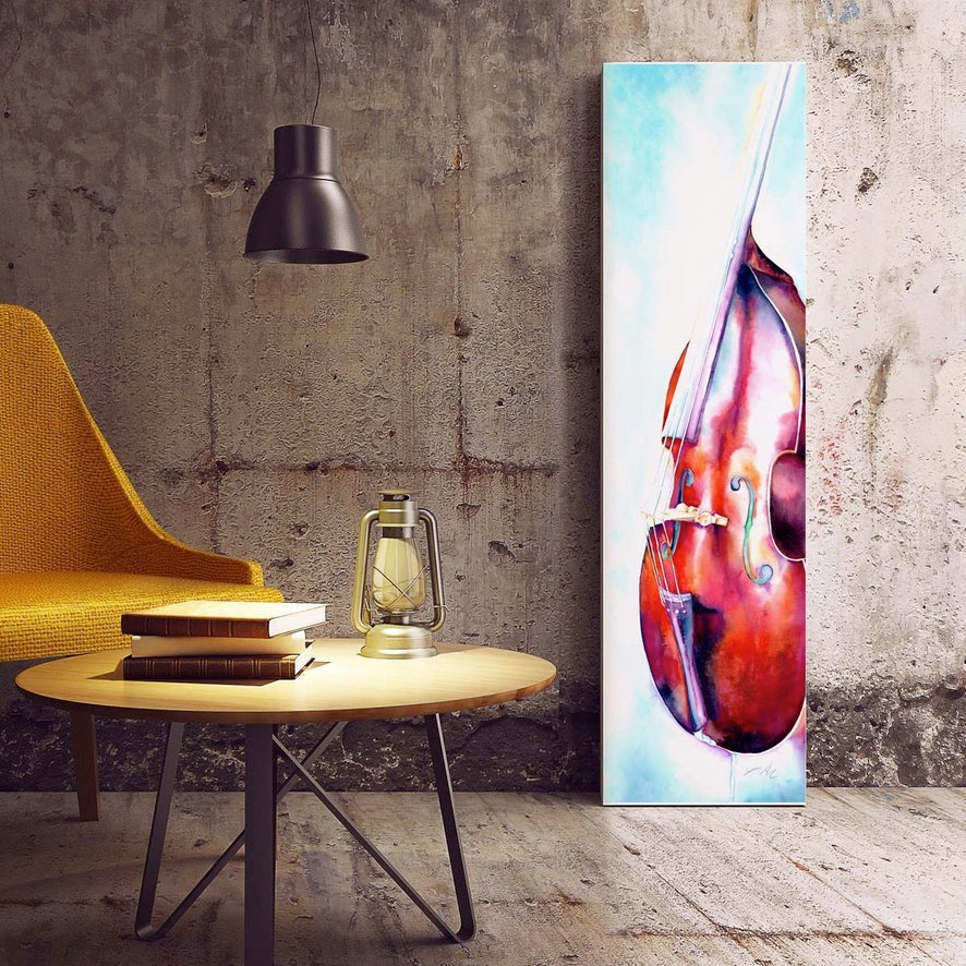upright bass painting on canvas