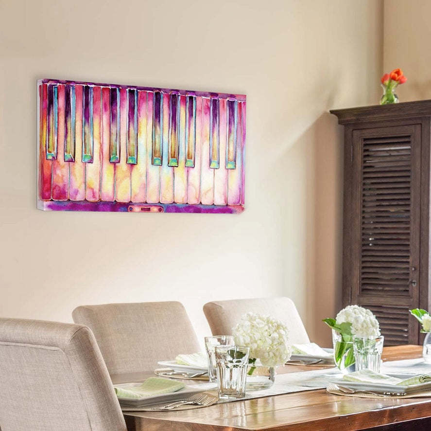 Original artwork of a colorful piano keyboard on canvas