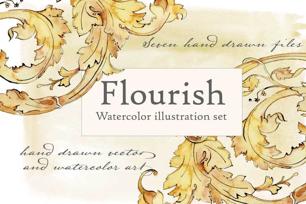 Flourish Watercolor Illustration Set - Seven Hand Drawn Design Assets by Jamie Hansen - Jamie Hansen Art