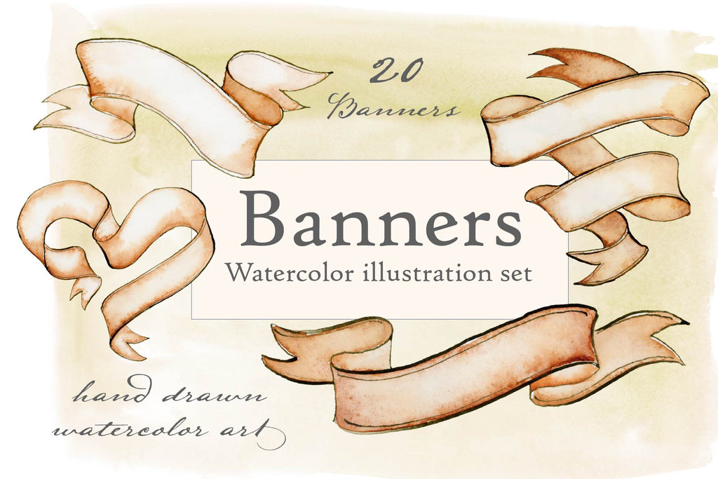 Watercolor Banners Illustration Set - Hand Drawn Ribbon Illustrations by Jamie Hansen - Jamie Hansen Art