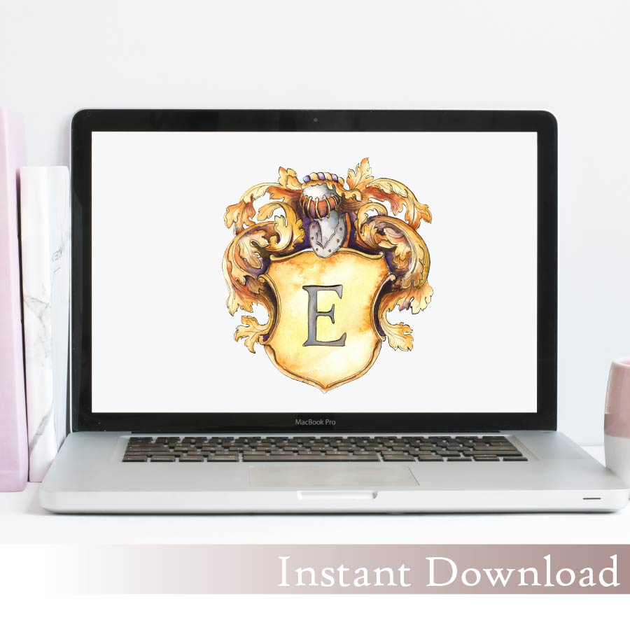 Charlotte Monogram Crest | Single Letter Monogram | Instant Download - Jamie Hansen Art