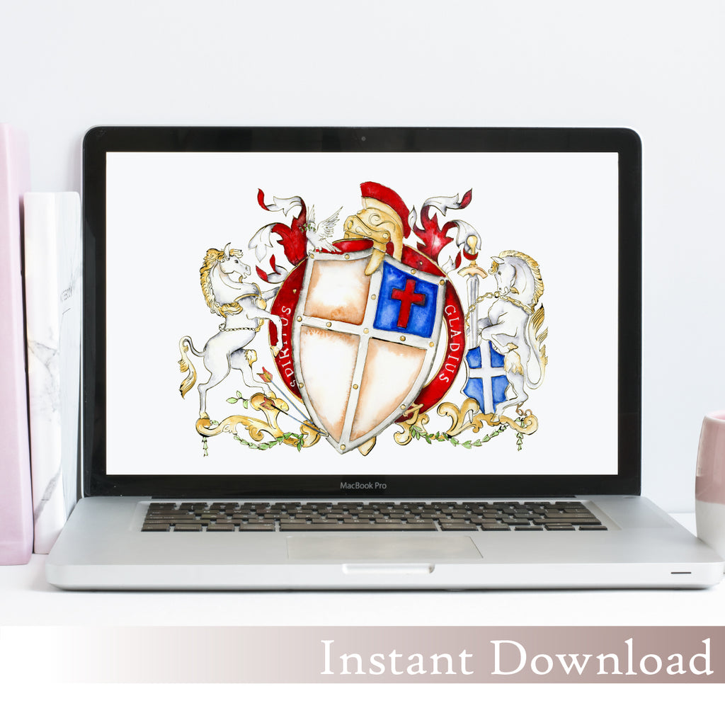 Armor of God Family Crest Template: Instant Download - Jamie Hansen Art