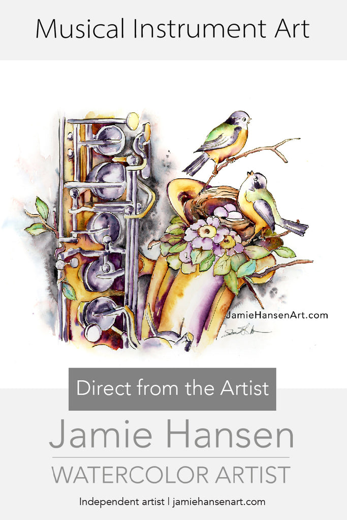 Joy of New Things - Art by Jamie Hansen with Song Birds and a Saxophone. - Jamie Hansen Art