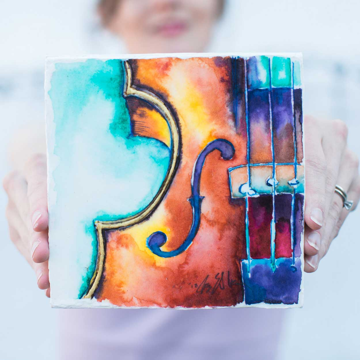 What I Meant to Say - 6x6 Watercolor of a violin