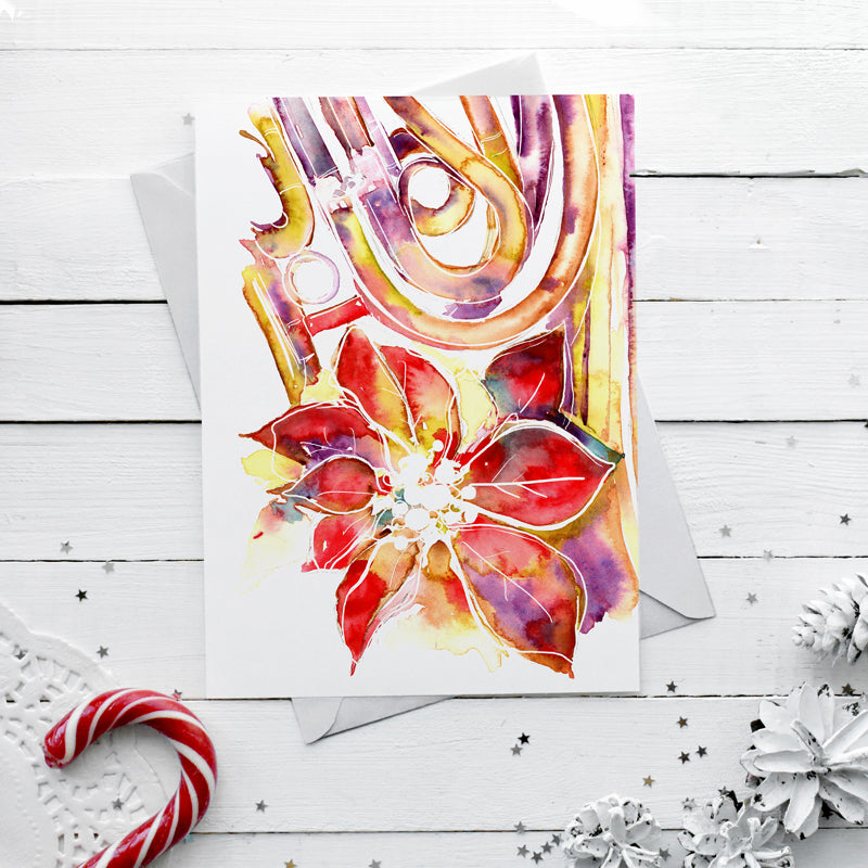 Poinsettia and French Horn Christmas Card - Music themed card - Box of 10 Cards with Envelopes