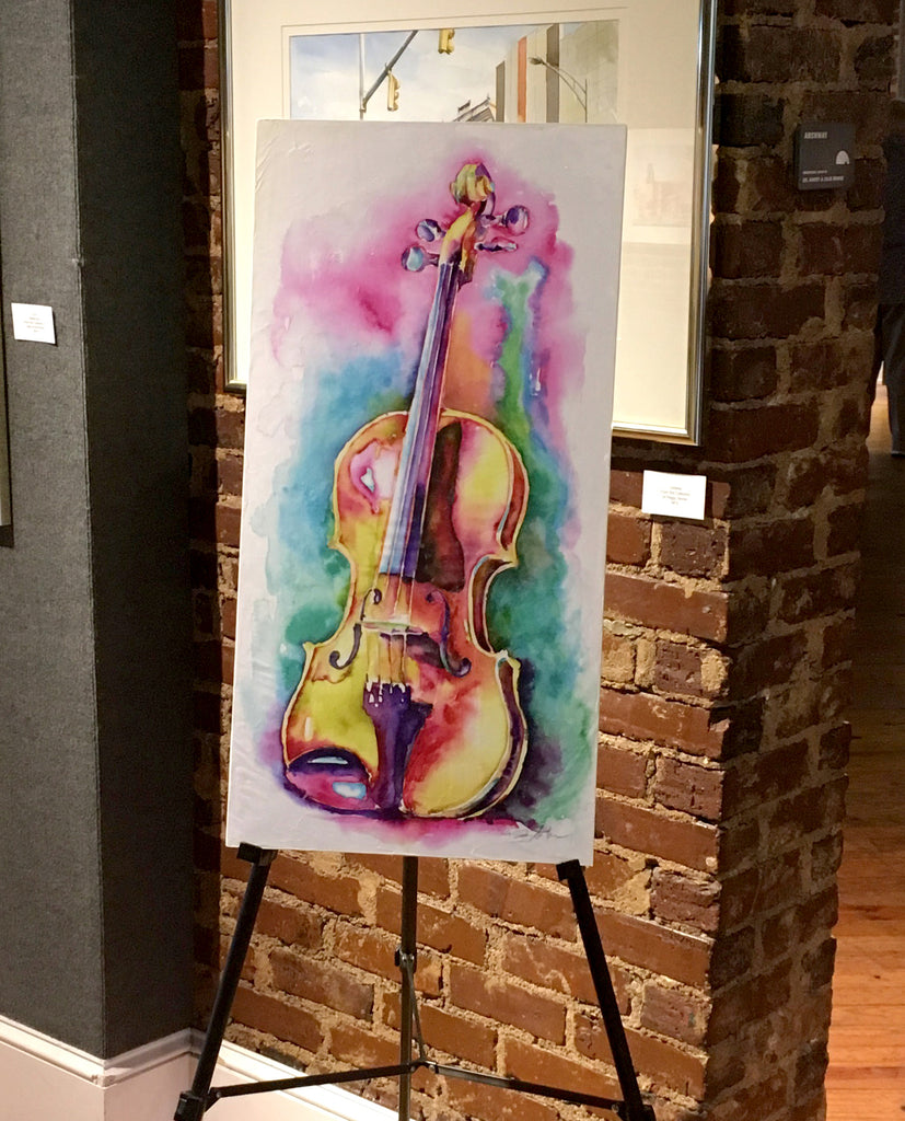 Viola in Sunlight- Strings painting - orchestra watercolor by Jamie Hansen - Jamie Hansen Art