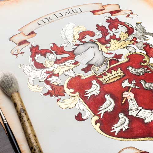 Custom Family Crest - Original Watercolor Painting and Digital File