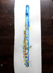 "Piccolo 10"" x 20"" Art - Woodwinds watercolor painting by Jamie Hansen - Jamie Hansen Art"