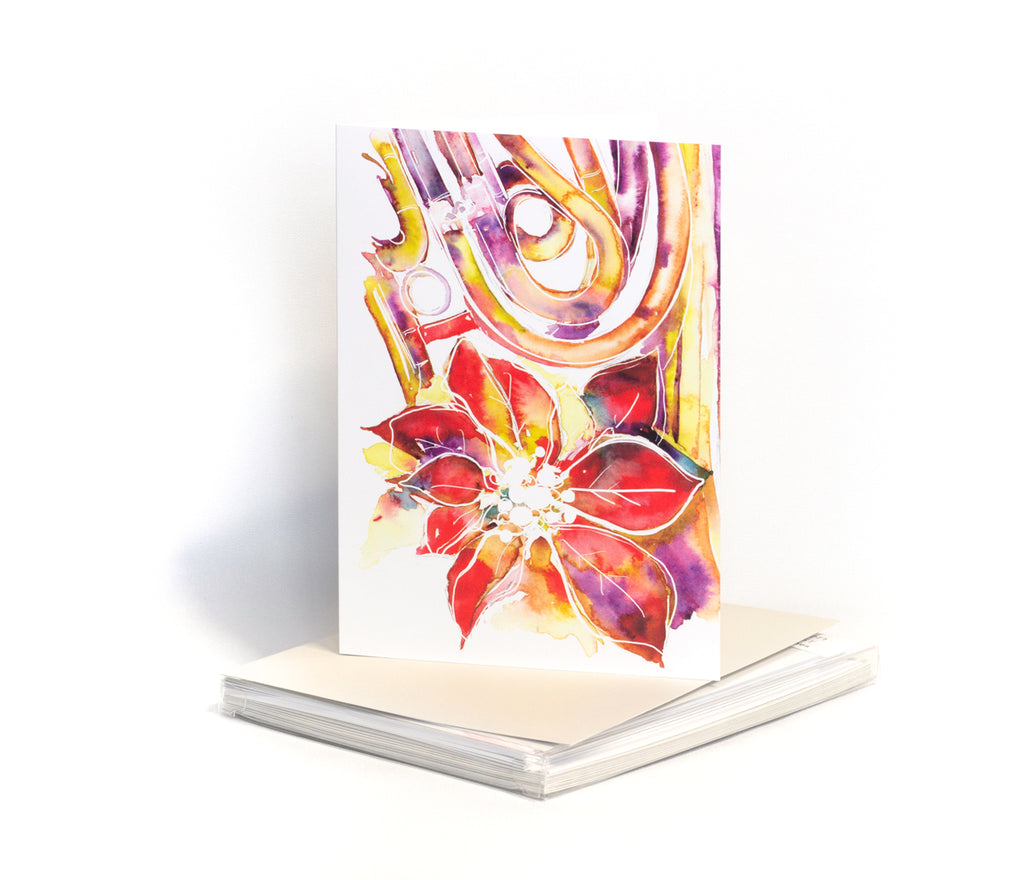 Poinsettia and French Horn Christmas Card - Music themed card - Box of 10 Cards with Envelopes - Jamie Hansen Art