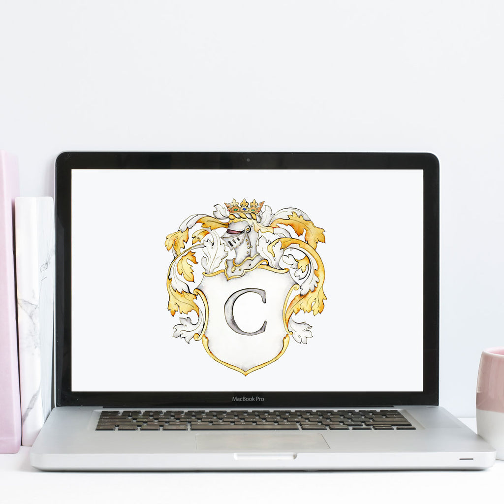 Victoria Crest | Single Letter Monogram | Instant Download - Jamie Hansen Art