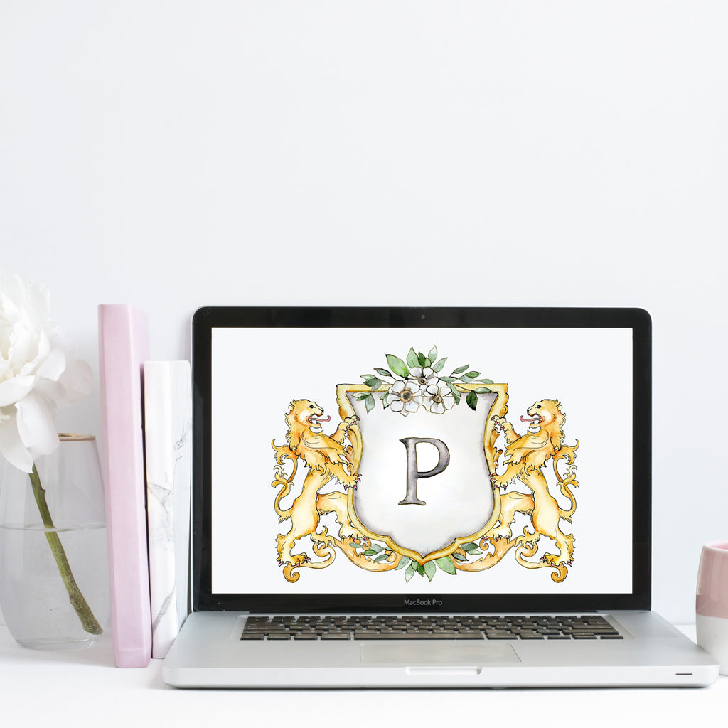 Lions Wedding Crest | Single Letter Monogram | Instant Download - Jamie Hansen Art