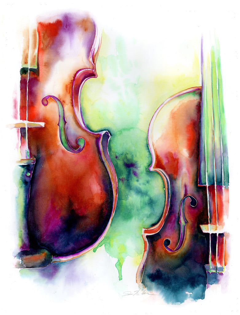 The Space Between Us: Two Violins Art by Jamie Hansen - Jamie Hansen Art