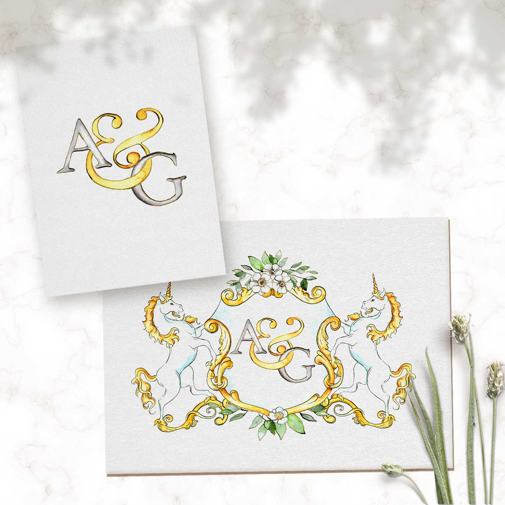 Monogram Crest with Unicorns | Semi-Custom Crest | Digital Download - Jamie Hansen Art