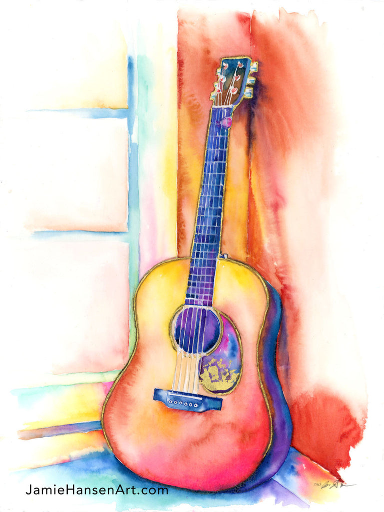 "A Room of My Own Acoustic Guitar Watercolor Painting - 16"" x 20"" print - Jamie Hansen Art"