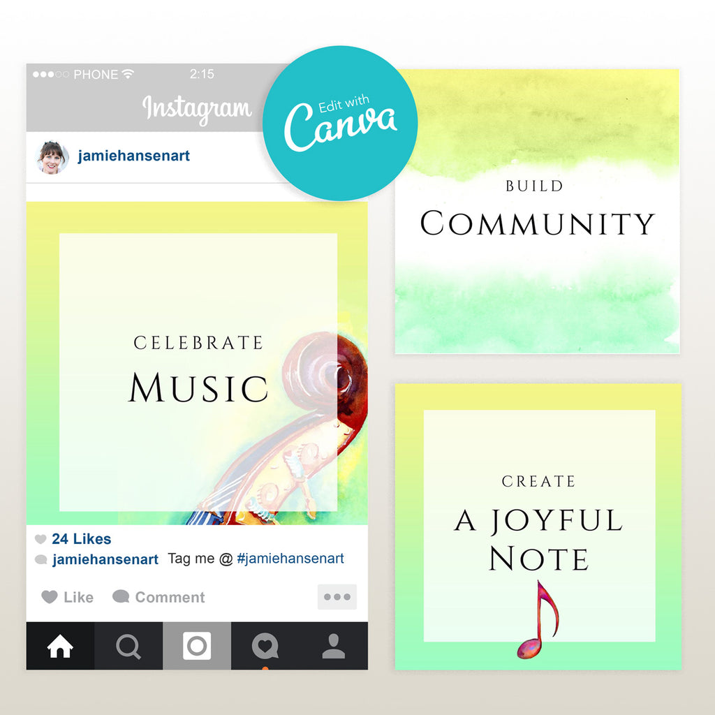 Bass Headstock Instagram Template | Editable Canva Template - Jamie Hansen Art