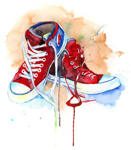 "Red Shoes Art Print  - 16"" x 20"" Converse Shoes - Jamie Hansen Art"