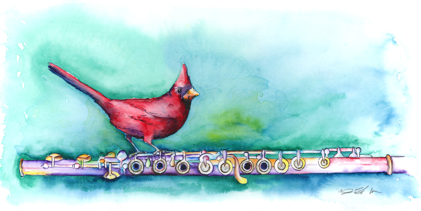 "A Different Perch 10"" x 20"" Art with a cardinal and flute - Jamie Hansen Art"
