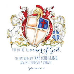 Ephesians 6:10 Bible Verse coat of arms - Armor of God Coat of arms artwork - Jamie Hansen Art
