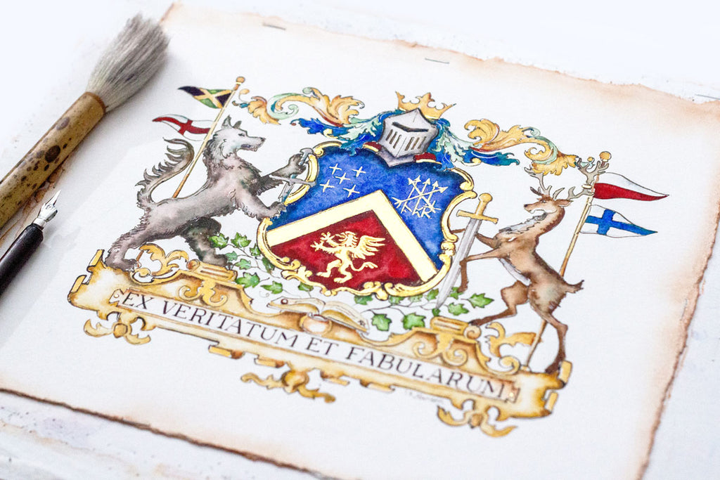 Custom Family Crest - Original Watercolor Painting and Digital File - Jamie Hansen Art