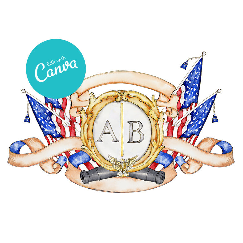 Patriotic Crest Canva Template - Heraldry Template with American Flags - Jamie Hansen Art