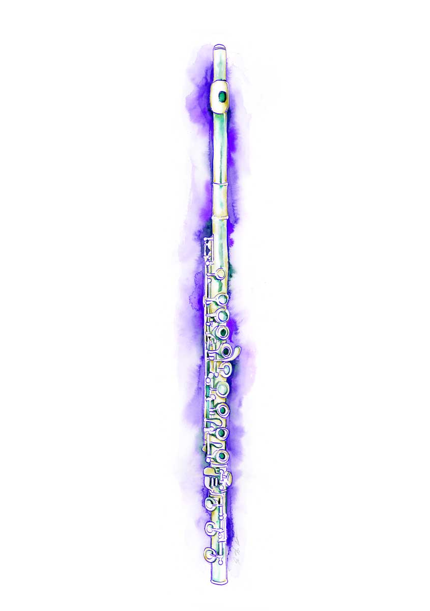 Flute in Purple Watercolor By Jamie Hansen