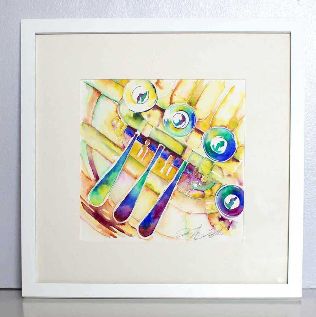 Gold French Horn Original Brass Instrument Watercolor by Jamie Hansen