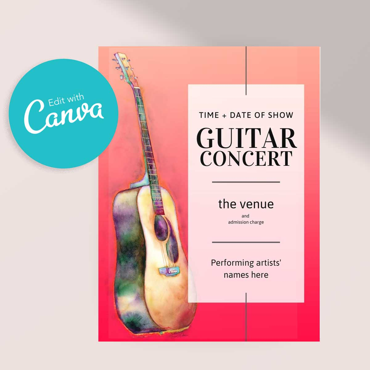 Acoustic Guitar Recital or Concert Poster | Editable Canva Template