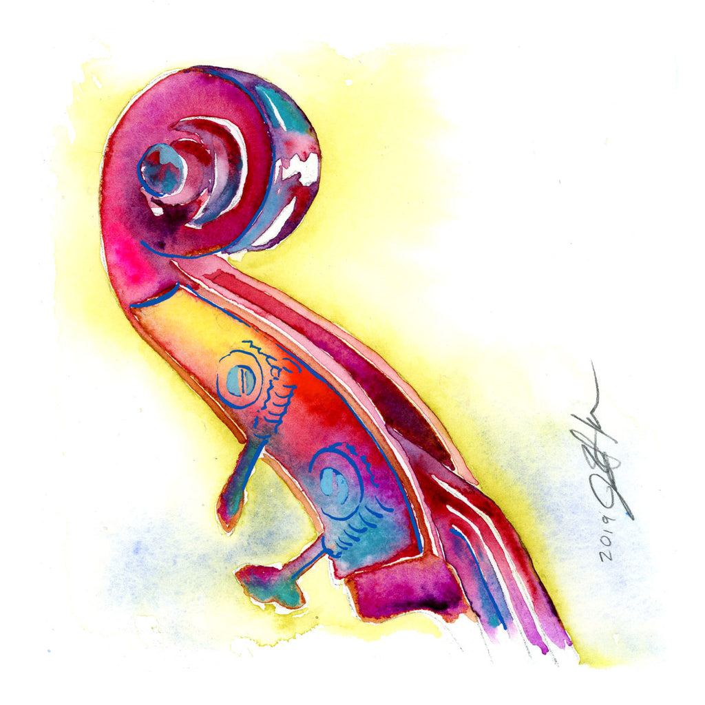 "Pink and Yellow Bass Headstock - Double Bass 6"" x 6"" watercolor art"