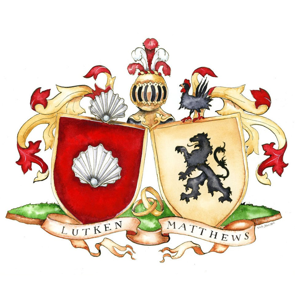 Create a Wedding Crest - Custom Wedding Heraldry File and Print - Jamie Hansen Art