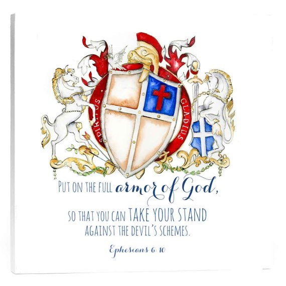 Art with Ephesians 6:10 Bible Verse crest - Armor of God Coat of arms artwork - Jamie Hansen Art