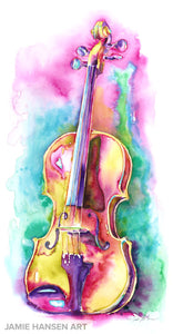 "Viola in Sunlight- Strings painting - 15"" x 30"" Viola watercolor by Jamie Hansen"