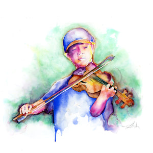 Fiddle Player - Violin Player Art Print by Jamie Hansen