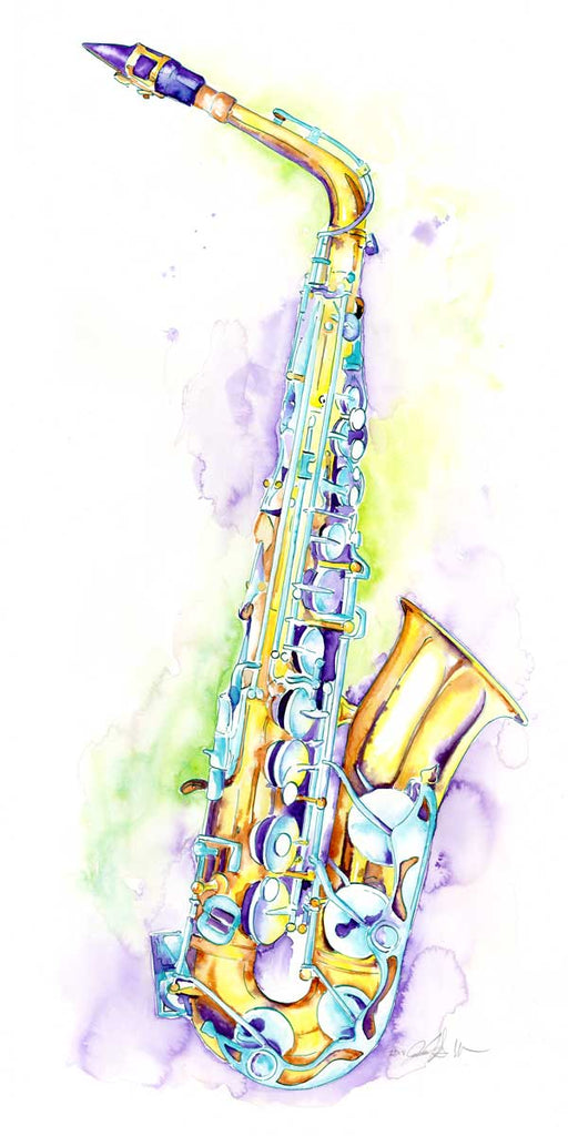 "Alto Saxophone Art by Jamie Hansen - 15"" x 30"" Sax watercolor - Jamie Hansen Art"