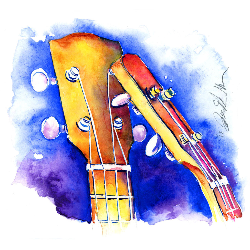 Kissing Cousins - Small painting of two ukeleles on blue - Jamie Hansen Art